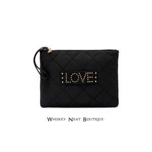 Sam Edelman Carly Black Nylon LOVE Clutch